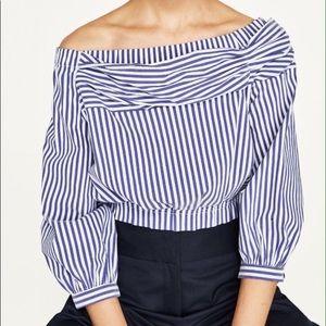 Zara Striped Bardot Blouse